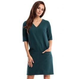 Zielona Sukienka w Serek z Kieszeniami