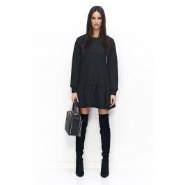 Czarna Sukienka Casual z Falbanką na Długi Rękaw