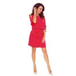 Czerwona Sukienka w Stylu Boho w Groszki
