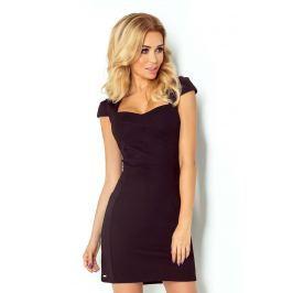 Czarna Sukienka z Przeszyciami z Mini Rękawkiem
