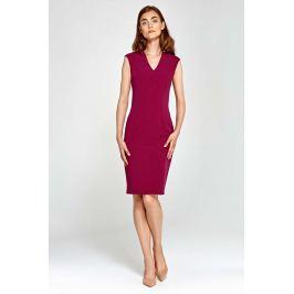 Bordowa Sukienka Ołówkowa bez Rękawów z Dekoltem V
