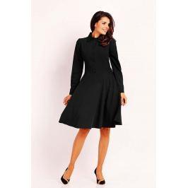Czarna Stylowa Sukienka Polo z Szerokim Dołem