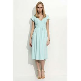Miętowa Sukienka Midi z Marszczeniami