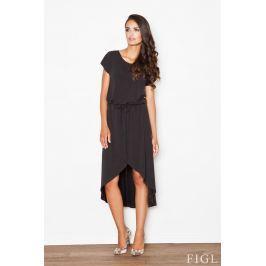 Czarna Ciekawa Sukienka z Wiązanymi Troczkami w Pasie