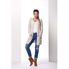 Beżowy Płaszczowy Sweter bez Zapięcia