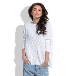 Biały Oversizowy Sweter z Ozdobnym Splotem