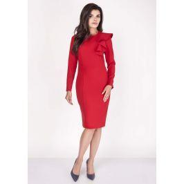 Czerwona Sukienki Ołówkowa Midi z Falbaną na Ramieniu