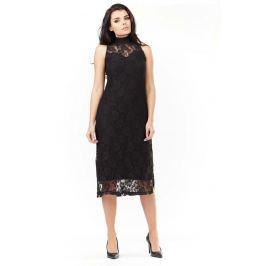 Sukienka z Czarnej Koronki ze Stójką