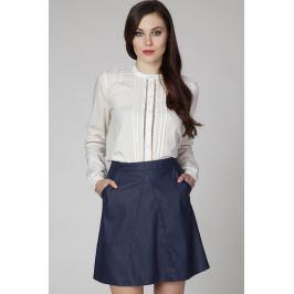 Kremowa Elegancka Bluzka Koszulowa z Ażurowymi Wstawkami
