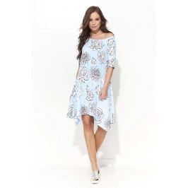 Błękitna Trapezowa Sukienka w Kwiaty z Wydłużonymi Bokami