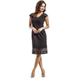 Czarna Elegancka Dopasowana Sukienka Midi z Koronką