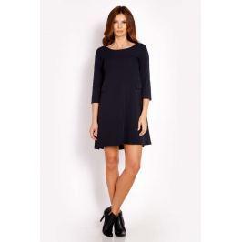 Granatowa Sukienka Mini z Patkami Imitującymi Kieszenie