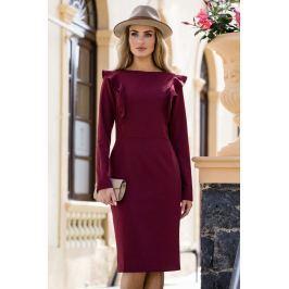 Ołówkowa Sukienka z Falbankami przy Rękawach- Bordowa