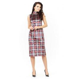 Sukienka Ołówkowa Midi z Półgolfem w Kratkę