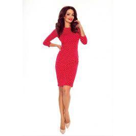 Czerwona Ołówkowa Sukienka w Groszki z Dekoltem na Plecach