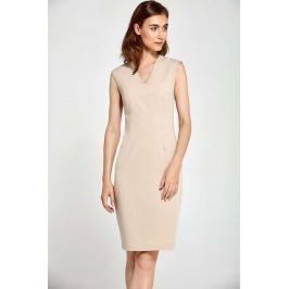 Beżowa Sukienka Ołówkowa bez Rękawów z Dekoltem V