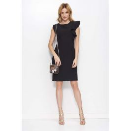 Czarna Sukienka Ołówkowa z Falbanką na Ramieniu