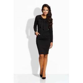Czarna Sukienka z Wiązaną Kokardą przy Dekolcie