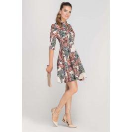 Sukienka Rozkloszowana z Ładnym Dekoltem Wzór w Liście