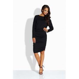 Czarna Sukienka Dopasowana z Drapowaniem na Boku