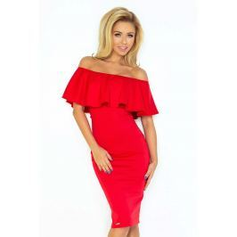 Czerwona Sukienka Ołówkowa z Hiszpańskim Dekoltem