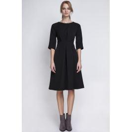 Czarna Wizytowa Sukienka z Szerokim Dołem w Zakładki