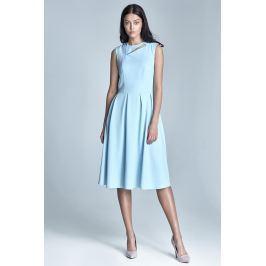 Błękitna Wizytowa Midi Sukienka bez Rękawów z Pęknięciem przy Dekolcie
