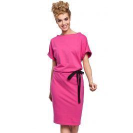Fuksja Sukienka z Kimonowym Rękawem z Ozdobną Wstążką w Pasie