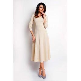Beżowa Elegancka Rozkloszowana Sukienka z Dekoltem V