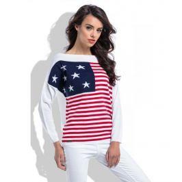 Biały Lekki Sweter w Łódkę z Motywem Flagi