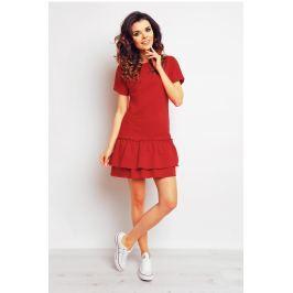 Czerwona Sportowa Sukienka Mini z Falbaną