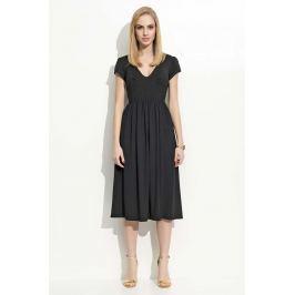 Czarna Sukienka Midi z Marszczeniami