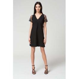 Czarna Elegancka Sukienka Trapezowa Wykończona Koronką
