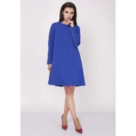 Niebieska Wizytowa Sukienka Trapezowa z Guzikami na Rękawach