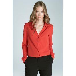 Pomarańczowa Koszulowa Bluzka z Dekoltem V z Długim Rękawem