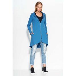 Asymetryczna Niebieska Długa Bluza z Kapturem