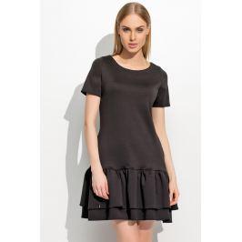 Czarna Kobieca Sukienka z Podwójną Falbanką