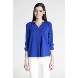 Kobaltowa Koszulowa Bluzka ze Stójką z Podpinanym Rękawem