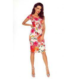 Wyjściowa Sukienka Ołówkowa z Nadrukiem w Kwiaty na Różu