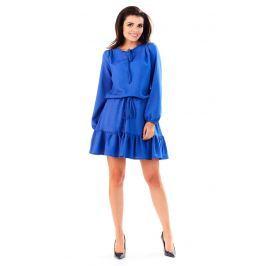 Niebieska Sukienka z Falbanką Wiązana przy Dekolcie