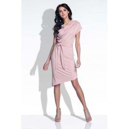 Pudrowy Sukienka Elegancka Asymetryczna z Rozcięciem na Plecach