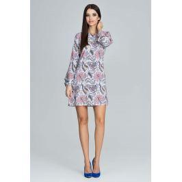 Casualowa Sukienka z Bufiastym Rękawem z Barwnym Wzorem  - Wzór 79