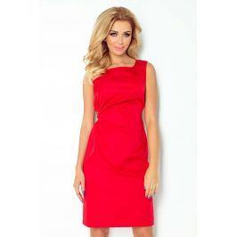 Czerwona Lśniąca Koktajlowa Sukienka z Wiązaniem