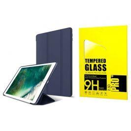 Etui Alogy Smart Case iPad 9.7 2017 / 2018 silikon Granatowe + Szkło - Granatowy