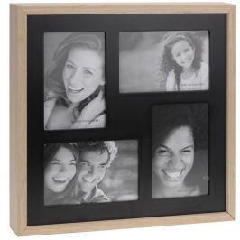 Ramka do 4 zdjęć Wood, czarny + beżowy