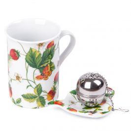 Komplet kubka 250 ml, sitka do herbaty i podstawki Poziomka