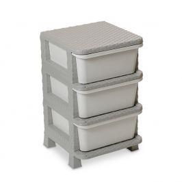Komoda 3 szuflady sztuczny Rattan, szary