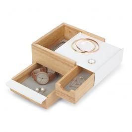 Umbra - Pudełko na biżuterię Mini Stowit - drewno naturalne/biały - drewno naturalne/biały